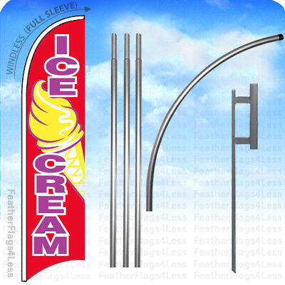 Ice Cream - Windless Swooper Feather Flag 15 Kit Banner Sign Rb