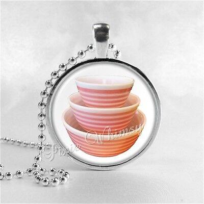 Vintage PYREX STRIPES Bowl Set Pendant Necklace Gift for Pyrex Collector