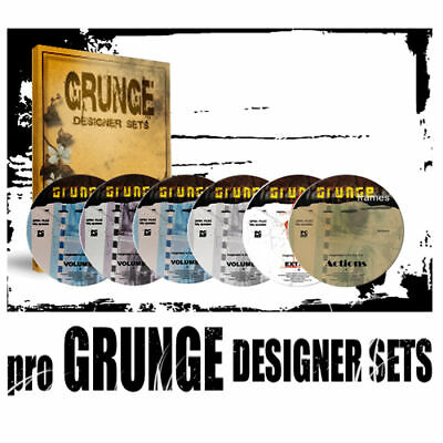 pro grunge  designer templates for photoshop cs 6 DVD set + actions backgrounds for sale  Shipping to South Africa