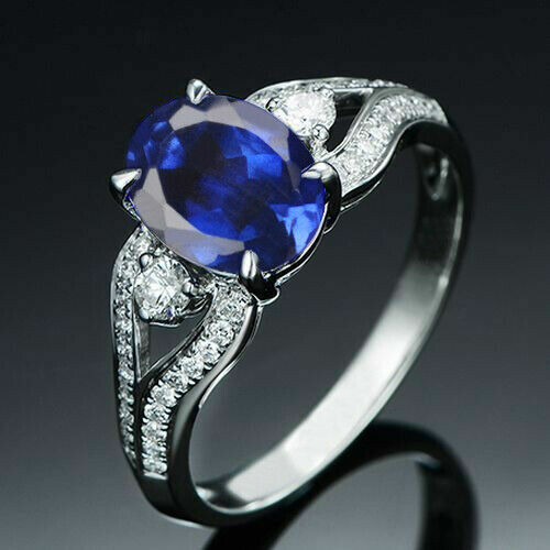 Gorgeous Split Shank Engagement & Wedding Ring 2.41 Ct Sapphire 14k White Gold