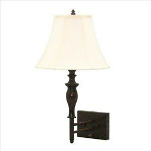 Grandrich FW-738-1 1 Light Wall Lamp Bronze Fabric Shade on off switch on base