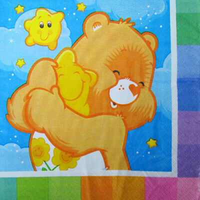 Care Bear Party Supplies (CARE BEARS Rainbow LUNCH NAPKINS (16) ~ Birthday Party Supplies Serviettes Paper)