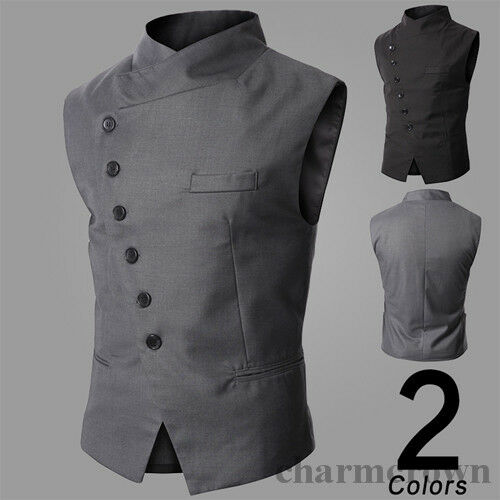 New-Fashion-Mens-Slim-Fit-Stand-Collar-Casual-Button-Vest-Waistcoat-Jacket-Coat