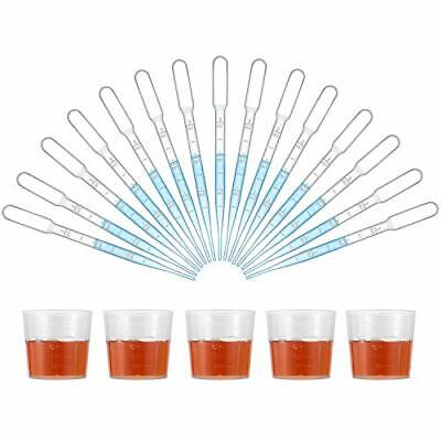 100 Pcs 3ml Disposable Dropping Pipette 5pcs Measuring Cups Included 105 New