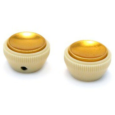 NEW (2)Tea cup Knobs for Beatle Bass Guitar Hofner Tea Cup Style - CREAM & GOLD