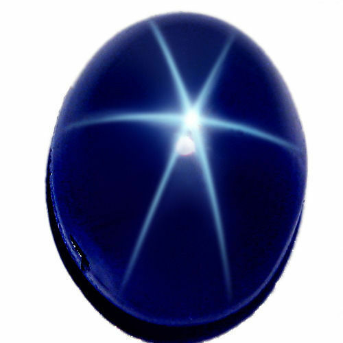 Natural Blue Star Sapphire Oval Cabochon 6 Rays Loose Stones (6x4mm - 13.7x11mm)