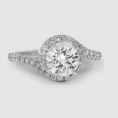 1.50 Ct Round Brilliant Cut Diamond U-Pave Engagement Ring F,VS1 GIA  14K WG