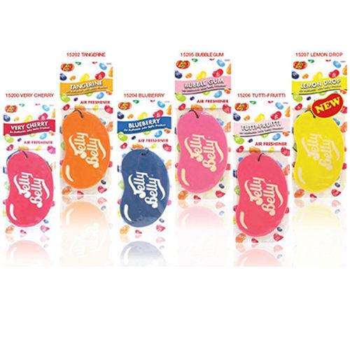 Jelly Belly 2D Card Car Air Fresheners Cherry Blueberry Bubblegum etc x 12 Bulk