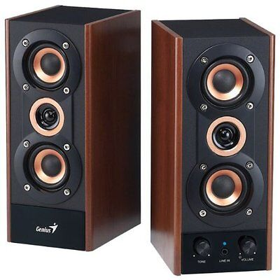 NEW Genius 3 Way Hi Fi Wood Speakers for PC MP3 players and Tablets SP (Genius 3 Way Hi Fi Wood Speakers)