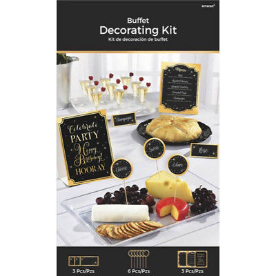 Black And Gold Party Supplies (GOLD AND BLACK SPARKLES BUFFET DECORATING KIT (12pc) ~ Birthday Party)