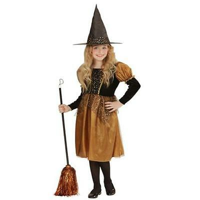 Edles Kinder Kostüm Hexe gold/schwarz für Mädchen Gr. 128 140 158 Halloween