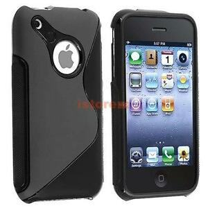 Black S Shape TPU Hard Gel Soft Rubber Skin Case Cover for iPhone 3 3G 3GS New