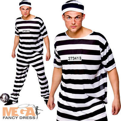 Prisoner Convict Mens Fancy Dress Prison Inmate Robber Adults Halloween Costume ](Mens Robber Halloween Costume)