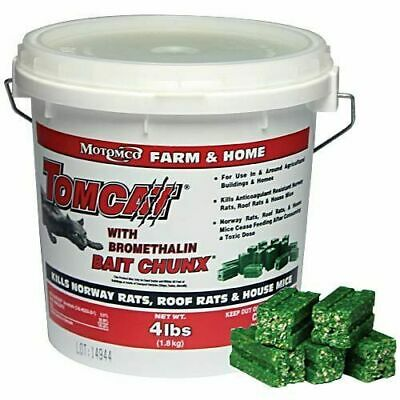 Motomco Tomcat Mouse & Rat Bait Chunx w/Bromethalin 4lbs Made in USA