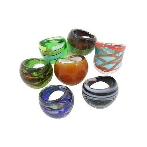Wholesale Lot 12 New Hand-Made Lampwork Murano & Venetian Style Art Glass Rings