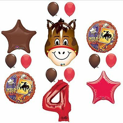 Wild West Cowboy Western 4th Birthday Party Supplies and Balloon Decorations - Cowboy Birthday Party Supplies