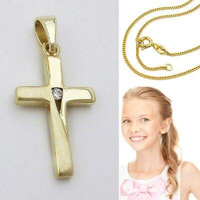 Kinder Taufe Kommunion Kreuz Zirkonia Anhänger Gold 585 mit Silber Kette vergold