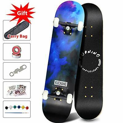 Phoeros Skateboards -Standard Skateboards for Kids Boys Girls Youths Blue Light