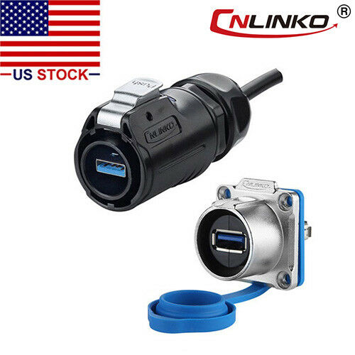 """USB 3.0 Male Plug & Female Socket Connector w/ 20"""" Cable Outdoor Waterproof IP67"""