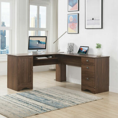 L-Shaped Table Home Office Desk Corner Computer W/3 Drawers storage shelves Wood L-shaped Office Table