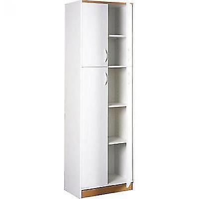 Kitchen Pantry Storage Cabinet White 4 Door Wood Organizer 5 Shelves Furniture