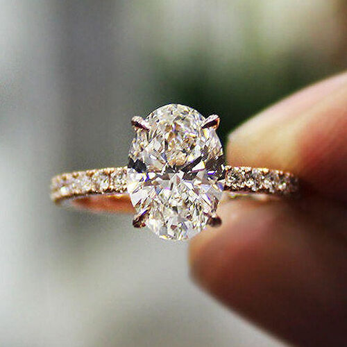 New! 1.20 Ct Oval Cut Diamond Engagement Ring Round Cut Accents F,VS2 GIA 14K WG 2
