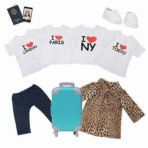 "Adora Amazing Girls 18"" Doll Clothes - 4 T-Shirts Suitcase,"