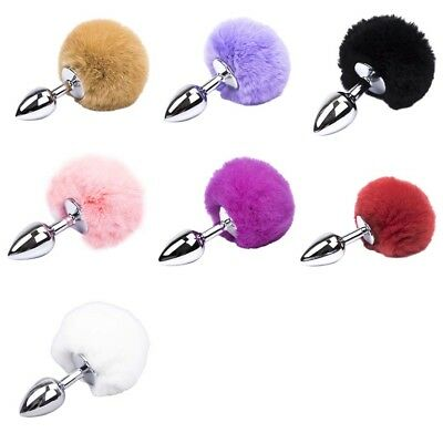 Funny Bunny Rabbit Tail Plug Fluffy Insert SlaveTail with Metal Cosplay Animal