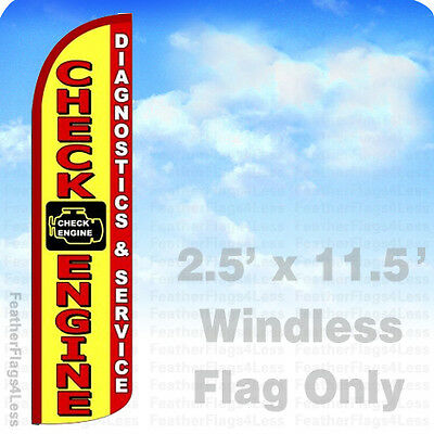 Check Engine Diagnostics Service Windless Swooper Flag Feather Sign 2.5x11.5 Yz