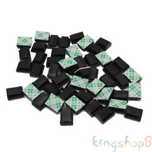 50x car interior data tie cable mount wire 3m fixed clips holders self adhesive. Black Bedroom Furniture Sets. Home Design Ideas
