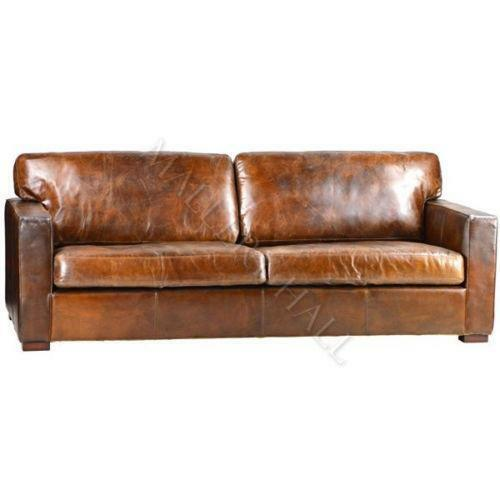 distressed leather sofa ebay. Black Bedroom Furniture Sets. Home Design Ideas