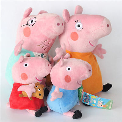 4Pcs Peppa Pig Family Plush Doll Stuffed Toy 30Cm DADDY MOMMY 19Cm PEPPA GEORGE - George Pig