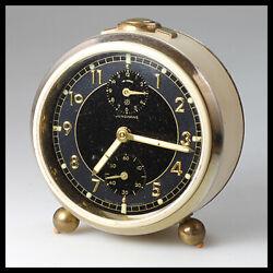 JUNGHANS Germany Metal Brass Cream Beige Black Mechanical Wind up Alarm Clock