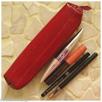 Genuine Eel Skin Leather Pencil Case Pencil Box Cosmetic Case Purse (Red)
