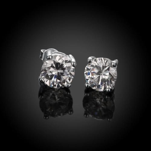 6mm Men Women Sterling Silver Plated Post Stud Crown Cubic Zirconia Earrings HOT Earrings