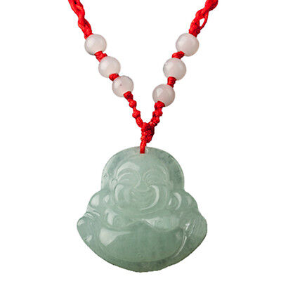 - K9 Red String Green Faux Jade Buddha Pendant Jewelry Necklace