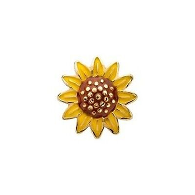 Gold Flower Locket Charm (Sun Flower Textured Gold 8mm Floating Charm for Memory Lockets 1pc )