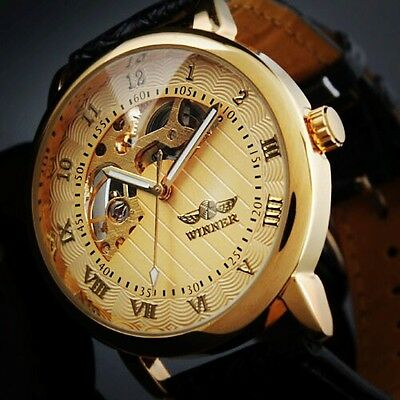 Luxury Men's Gold Skeleton Dial Black Leather Automatic Mechanical Sport Watch