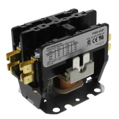 Carrier P282-0321 - Contactor Two Pole 24V, DPST, 30 Amp, NO