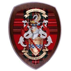 Scottish-Made-Royal-Stewart-Clan-Tartan-Woodcarver-Coat-of-Arms-Dark-Wood-10x12