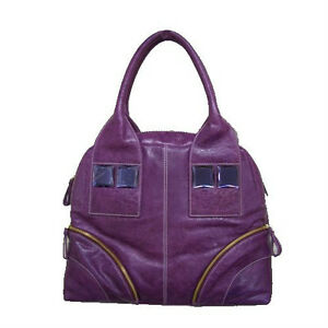 Purple Genuine Leather Gemstone Handbag - BRAND NEW