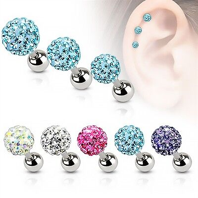 Autiga® Ohr Piercing Stecker Tragus Helix Cartilage Barbell Ferido Kristalle