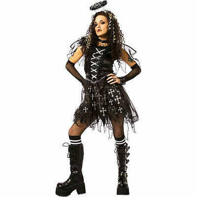 Gothic Angel Halloween Costume (womens gothic black DARK ANGEL Halloween costume ADULT medium 8-10 large)