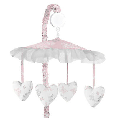 Sweet Jojo Musical Mobile For Girl Pink Gray Damask Butterfly Alexa Crib -