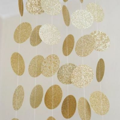 10FT Banner Gold Glitter Circle Polka Dot Paper Garland Banner Party Decoration