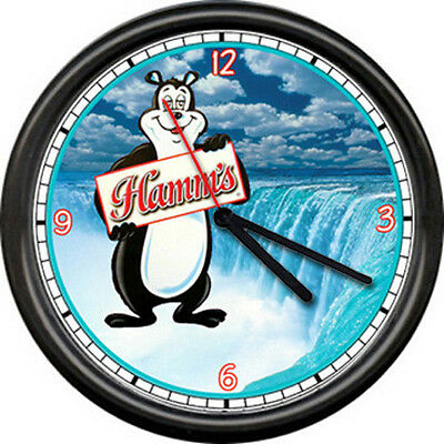 Hamm's Hamms Waterfall Beer Bear Bar Tavern Sign Wall Clock