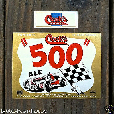 3 Sets Vintage Original COOK'S INDY 500 BEER Bottle Labels 1940s Unused NOS