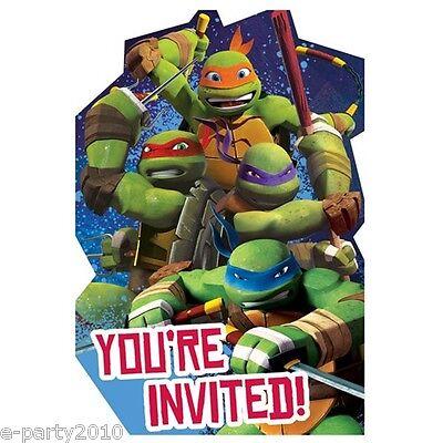 TEENAGE MUTANT NINJA TURTLES INVITATIONS (8) ~ Birthday Party Supplies - Ninja Turtles Invitations