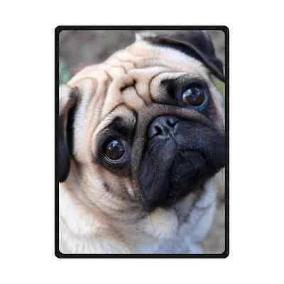 "Brand New Soft Pug Dog Throw Blanket 58"" x 80"" Inch"