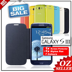 AU Cover Ultra Thin Flip case for Samsung Galaxy S3 i9300 Screen Protector Pen